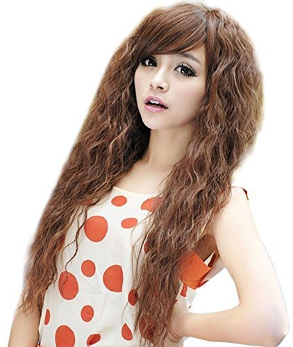 [NuoYa001 New Womens Fashion Sexy long Full Curly Wavy Hair Wigs Cosplay Party Light Brown by NuoYa] (Long Sexy Wigs)
