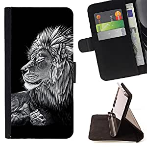 DEVIL CASE - FOR Sony Xperia M2 - Black White Art Drawing Lion Big Feline - Style PU Leather Case Wallet Flip Stand Flap Closure Cover