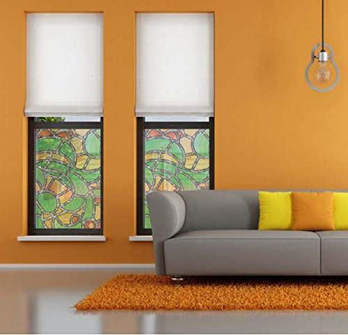 Klebefilm Bleiglas Look 0,45 m x 2 m gr/ün orange Bunte Fensterfolie Reims Adhesive