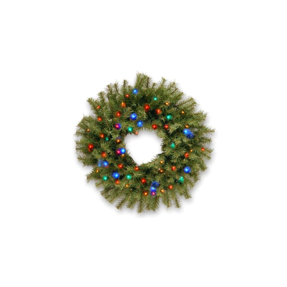 Pre Lit Norwood Fir Wreath with Concave LED Lights and Timer