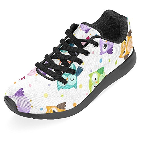 Interestprint Womens Jogging Running Sneaker Leggero Go Easy Walking Casual Sport Sport Scarpe Da Corsa Coloratissimi Gufi Uccelli Multi 1