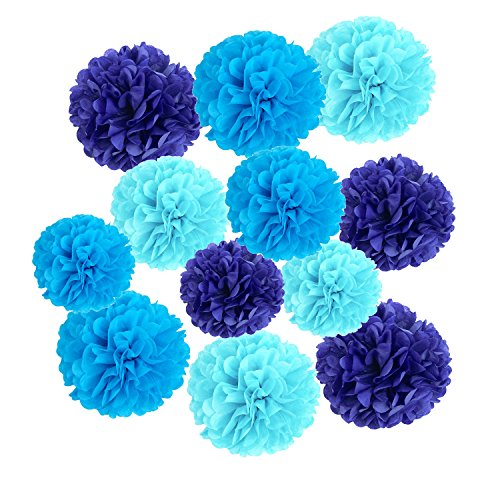 Wartoon Tissue Paper Pom Poms Flowers for Wedding Birthday Party Baby Shower Decoration, 12 pieces - Dark Blue, Blue and Sky Blue by Wartoon