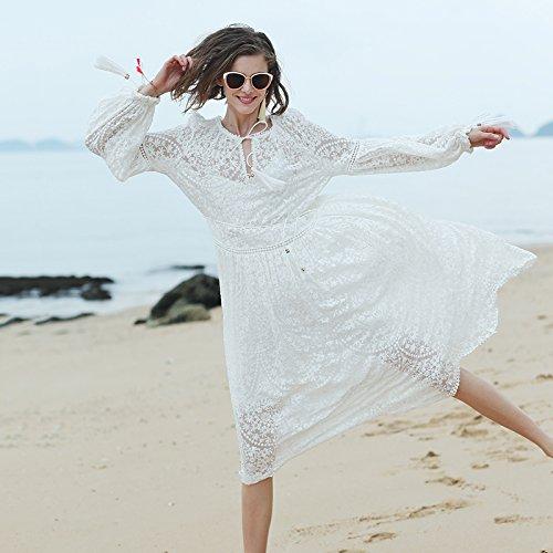 Vestido Del Del Meizizivestido Playa De Vestido Vestido Seda De De MeiZiZi white Bordado Noche Cordón La Casual fqdxnz