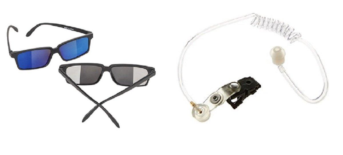 Spy Detective Glasses Look Behind Secret Agent Earpiece Ear Piece Costume Kit