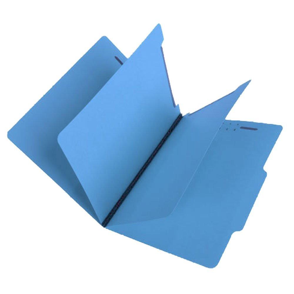 SJ Paper S59702 Match 15 Pt. Blue Classification Folders, 2/5 Cut ROC Top Tab, Letter Size, 2 Dividers (Box of 25)