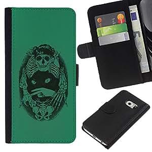 Be-Star la tarjeta de Crédito Slots PU Funda de cuero Monedero caso cubierta de piel Para Samsung Galaxy S6 EDGE ( Green Cat Death Bones Skeleton Black )