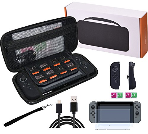 Six-in-One Full Range Accessories for Nintendo Switch including EVA Carrying Case, Tempered Glass Screen Protector, charging Cable and Silicone Joy-Con Controller Cover