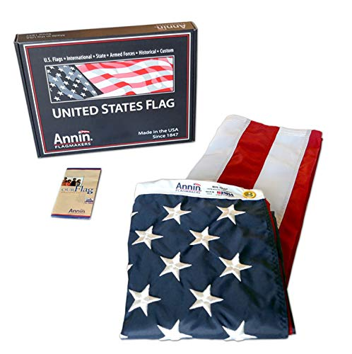 Annin Flagmakers Model 2220 American Flag 4x6 ft. Nylon SolarGuard Nyl-Glo , 100% Made in USA with Sewn Stripes, Embroidered Stars and Brass Grommets. (Best Flag Material For Outside)