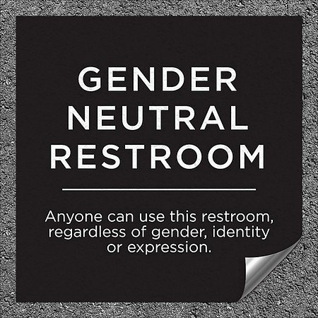 CGSignLab |''Gender Neutral Restroom Sign in Black and White Text'' Heavy-Duty Industrial Self-Adhesive Aluminum Wall Decal (5-Pack) | 16''x16''