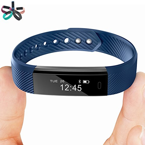 Smart Bracelet Point Touch TopBest ID115 Bluetooth Call Remind Remote Self-Timer Smart Band Calorie Counter Wireless Pedometer Sport Sleep Monitor Activity Tracker For Android iOS Phone (Blue)