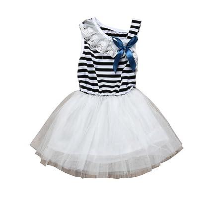 feiXIANG Vestido de niña Vestido a Rayas Vestido de Arco Vestido de Princesa Vestido de Princesa