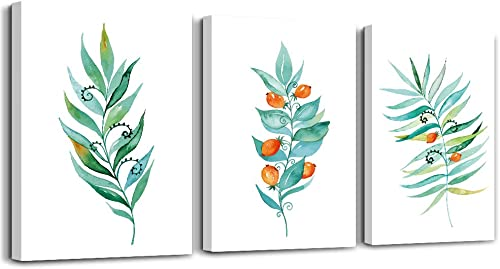 Green leaf plants flowers Watercolor painting canvas wall art for kitchen 3 piece bathroom wall decor for bedroom living room wall paintings canvas prints home decoration wall Artwork Hang a picture