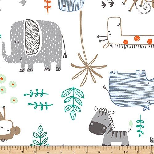 Shannon Fabrics Shannon Minky Mighty Jungle Cuddle Denim Fabric by The Yard