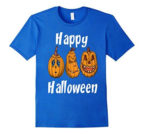 Mens Happy Halloween Pumpkin Jack-O-Lanterns T-shirt Small Royal Blue