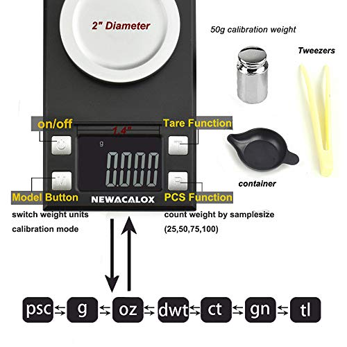 100 x 0.001g Digital Milligram Pocket Scale, High Sensitivity Portable Reloading Weighing Jewelry Power MG Scale with 50g Calibration Weights (Black)