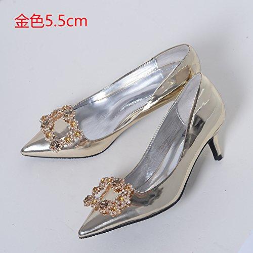de de lady 35 mujer Tacones Botas cristal HUAIHAIZ de 5cm Zapatos oro Zapatos de de zapatos agua tacones novia noche de con boda perforación 5 vq8xa