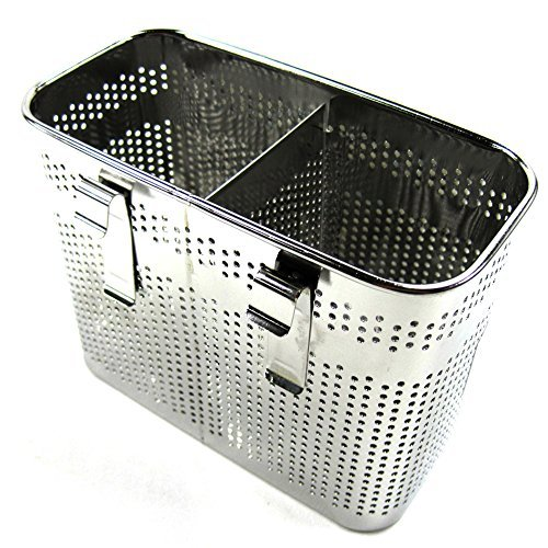 2 Divided Square Stainless Steel Perforated Cutlery Holder Sink Storage Basket (Stainless Steel Cutlery Basket)