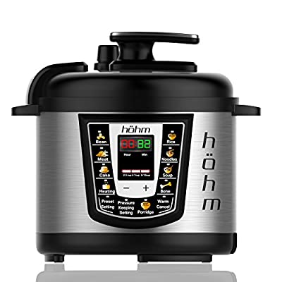 Hohm Pressure Cooker Pro 6 Quart - Universal 7 in 1 XLarge Multi-Function Electric Power Kitchen Appliance - Stainless Steel - Nonstick & Dishwasher Safe Insert with Steam Rack Accessories