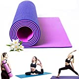 Kamachi Reversible Yoga Mat For Women & Men with Carrying Strap Non Toxic, Non Slip Dual Texture Exercise Yoga Mat 6mm for Yoga Pilates & Home Gym, Purple/Pink, Green/Blue, Navy/Grey, Blue/Pink