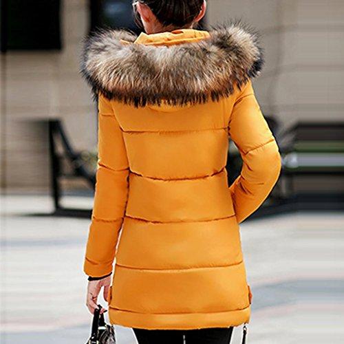 Outwear Parka Lungo Inverno Con La Giallo Imbottita Giacca Caldo Cappuccio Slim Ricoprono Dayseventh Giù Donne qv7azOwz
