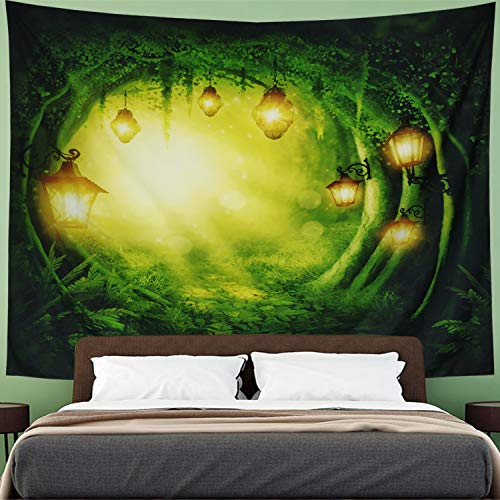 Amhokhui Forest Fairy Tales Tapestry Lanterns Fantasy Large Tree Tapestry Psychedelic Forest Tree Tapestry Nature Tapestry Wall Hanging for Halloween Bedroom Living Room Dorm (Lanterns, 59
