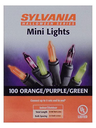 Sylvania Halloween Series Indoor/Outdoor Mini Lights - 100 Orange/Purple/Green