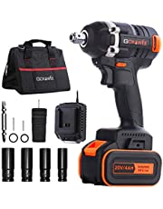 Impact Wrench, GOXAWEE 20V CordlessImpactDriver Set (4.0Ah Lithium Battery, 300Nm/ Brushless/ 2-Speed,12.7mm & 6.35mm Chuck) with 11 Accessories Include Tool Bag