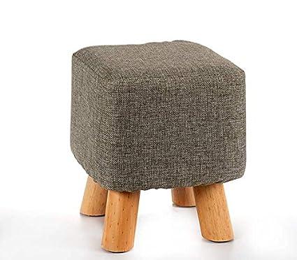 Takestop® Taburete bajo cuadrado pies de madera 26 x 26 x 28 cm puf ...