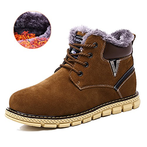 TQGOLD Mens Suede Casual Snow Boots Waterproof Winter Outdoor Hiking Shoes with Fur Lined High Top(Size 42,Brown)