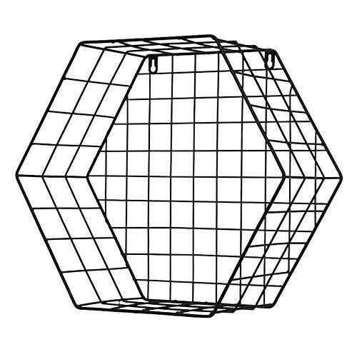 Elegante Y Simple Moderna Repisa de Hierro Forjado, Estante de Almacenamiento Hexagonal Montado en la Pared, Marco de Rejilla...
