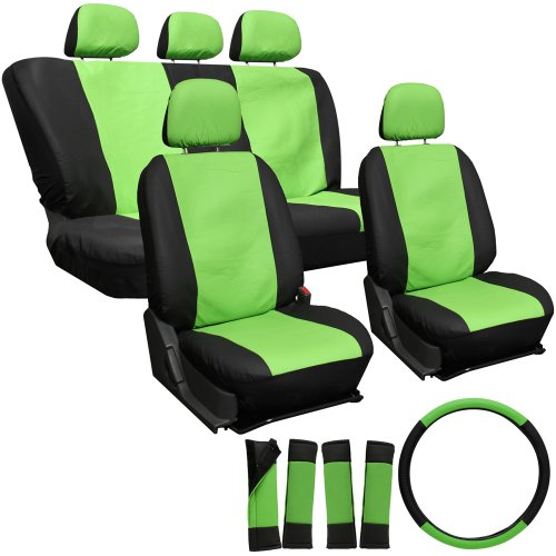 OxGord 17pc Leatherette Seat Cover Set, Airbag Compatible, for TOYOTA AVALON, Green & Black
