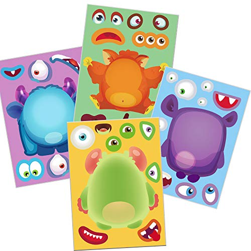 Happy Storm 24 Make A Monster Stickers Halloween Party Games for Kids Halloween Activities for Monster Themed Birthday Party Supplies Make A Monster Face Stickers Favors ()