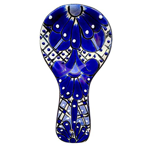 Spoon Rest - Hand Painted Talavera Ceramic Spoon Holder - Blue and White Mexican Style Cuchara Azul Blanco