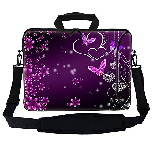 Meffort Inc 15 15.6 inch Neoprene Laptop Bag Sleeve with Extra Side Pocket, Soft Carrying Handle & Removable Shoulder Strap for 14 to 15.6 Size Notebook Computer (Purple Butterfly Heart 1)