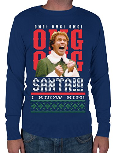 Elf Santas Coming I know Him Long-Sleeve Shirt, Navy, X-Large