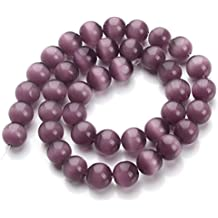 Linsoir Beads Purple Cat Eye Opal Beads Semi Precious Gemstones Loose Beads 8MM 40cm/strand