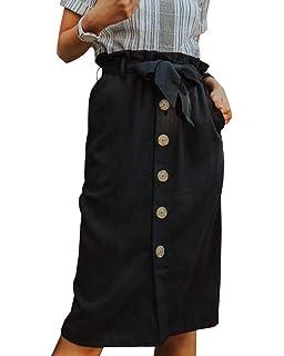 956c1449ca Amazhiyu Womens Linen Button Front Maxi Skirts with Pockets Elastic Waist A Line  Irregular Overalls Skirt High Low Hem ·  26.00 · Womens High Waist Button  ...