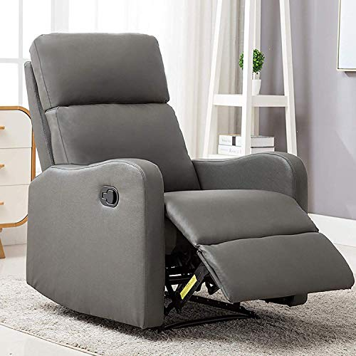 ANJ Chair Contemporary Leather Recliner Chair for Modern Living Room Classic Grey-R6275