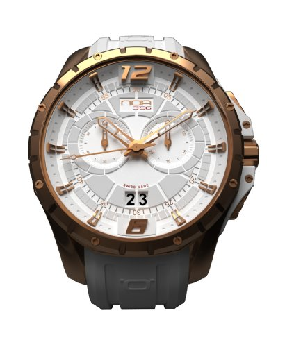 NOA Unisex Swiss Quartz Watch - Premium Analog Display With White Dial and Watch Band - Rose Gold Accents - Water Resistant Stainless Steel Fashion - SKCH-003 by Noa Watch