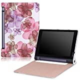 Lenovo Yoga Tab 3 8 Case - MoKo Ultra Slim Lightweight Smart-shell Stand Cover Case for Lenovo Yoga Tab 3 8 Inch 2015 Tablet, Floral PURPLE