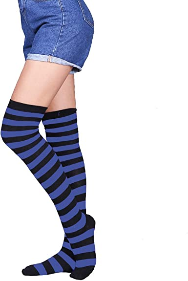 Ladies Girls Womens LONG Rainbow lycra Over The Knee Socks SIZE 12 1//2-3 1//2