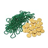 Club Pack of 444 Green Beads and Gold Coins Leprechaun Loot
