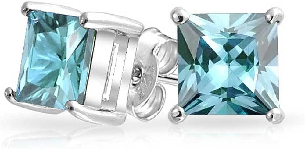 2Ct Aqua Zirconio Cúbico Cuadrado Azul Corte Princesa AAA CZ Pendiente Boton Plata Esterlina 925 Aguamarina Simulada