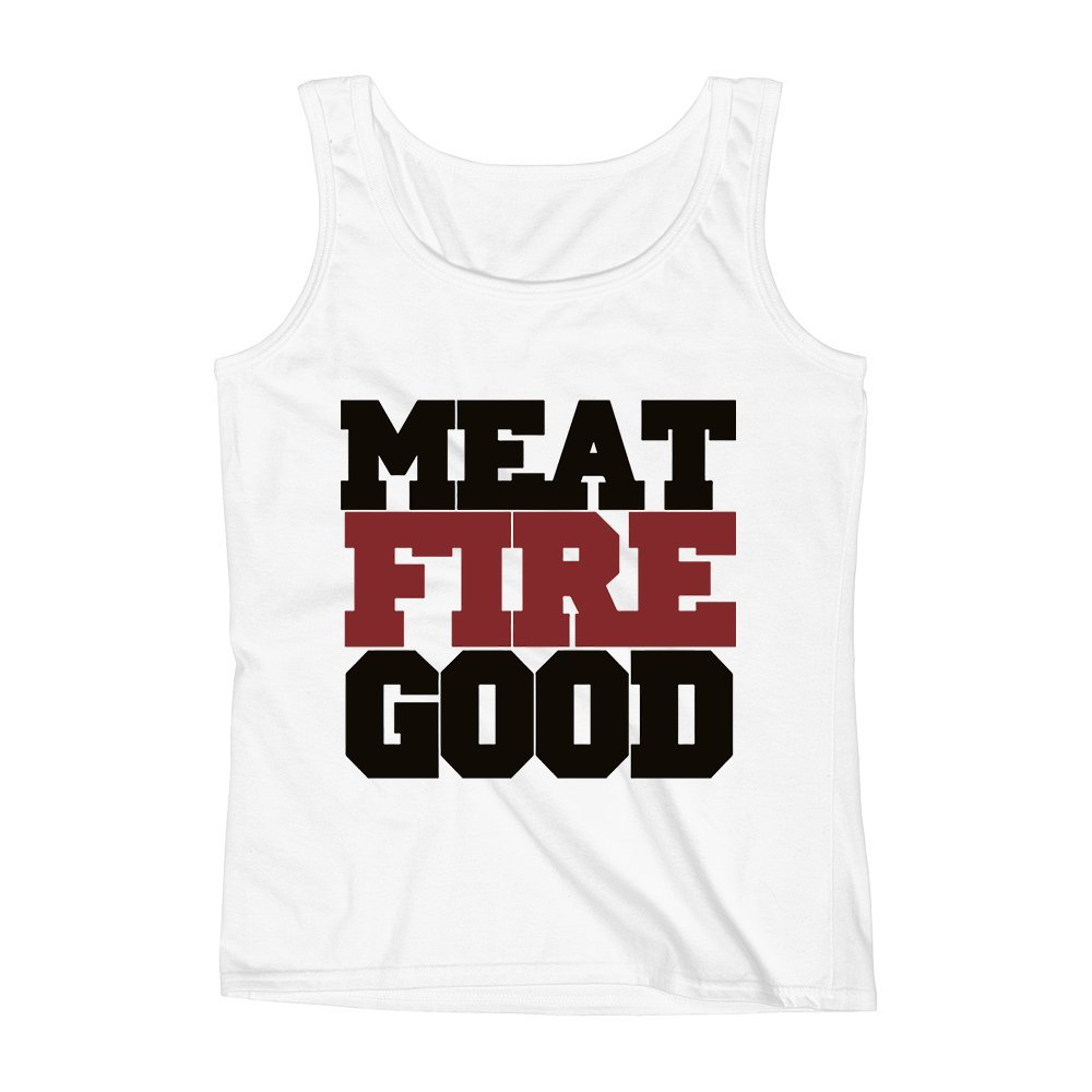 Mad Over Shirts Meat Fire Good Foodie Eat Hunger Unisex Premium Tank Top