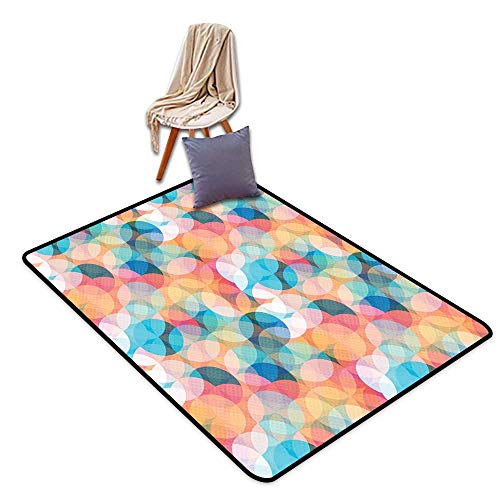Door Rug Indoors Geometric Soft Toned Hazy Overlap Circles Mosaic Birthday Party Pastel Design W55 xL79 Suitable for Restaurants,Family Rooms,corridors,foyers.