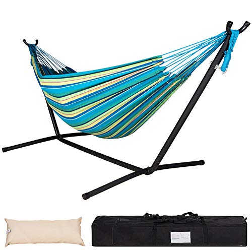 Lazy Daze Hammocks Double Hammock with Space Saving Steel Stand Includes Portable Carrying Case and...