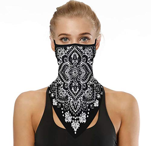 LOODA Bandana Face Mask Gators with Ear Loops for Women Mens,Neck Gaiter,Tube Mask,Face Scarf Black