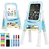 Costzon Art Easel for Kids, 360° Rotate Adjustable Double Side Standing Toddler Portable Magnetic Drawing Set with Chalkboard, Whiteboard, Art Accessories, Large Storage Tray, Gift (Blue)