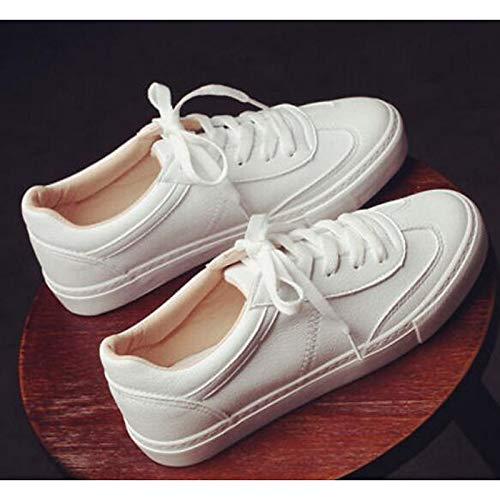 y con Cordones Plano Mujer Negro Talón Microfibra Blanco White de Primavera ZHZNVX Zapatos Confortable para de otoño fYwqUvU0