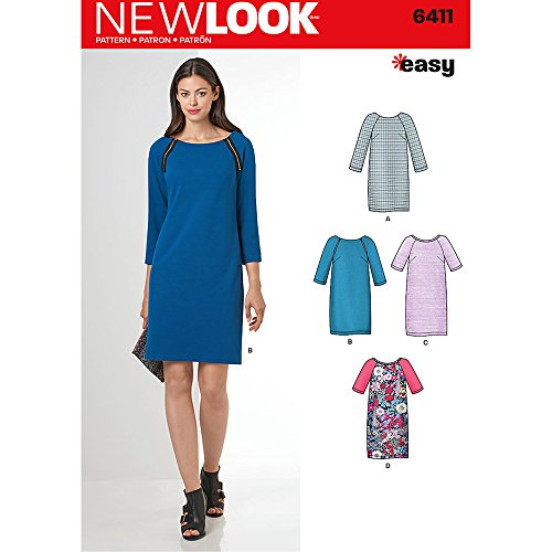 Easy Pattern Block (New Look Patterns Misses' Easy to Sew Shift Dress Size: A (10-12-14-16-18-20-22), 6411)